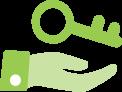 Icon key hand